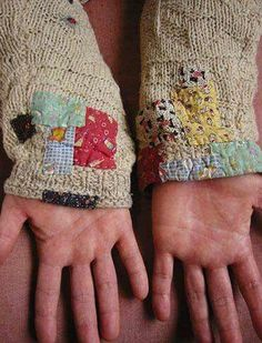 patchwork sleeves, stitching, stitch, hand stitching, sewing, sweater, wearable art, mending