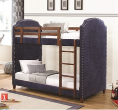 Coaster 460380 Twin/Twin Bunk Bed in Navy Blue with Nailhead Trim