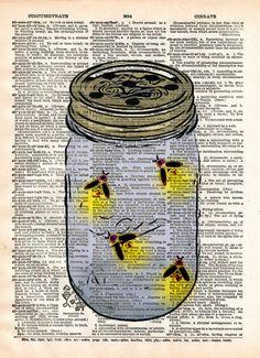 Firefly art, mason jar artfireflies in mason jar, childrens art, vintage dictionary art print