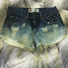 Levis high waisted shorts I made these myself a year ago, took me literally 3 hours, I pocket design on, I made the rips, I did the ombré effect, I love these shorts but they no longer fit me Levi's Shorts Jean Shorts