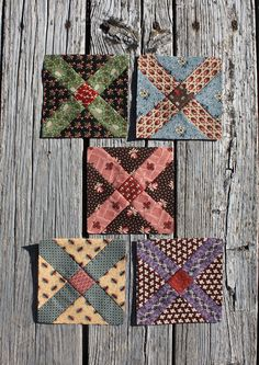 "Block 4  Cutting instructions are for one block.   cut one 1-3/4"" square - center   cut four 1-3/4"" x 3-3/4"" rectangles    cut two 4"" squares cut once diagonally  Piece sections together diagonally   Square block to 5-1/2"""