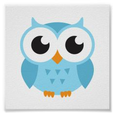 Cute Cartoon Owls | Cute blue cartoon baby owl poster - Zazzle.com.au