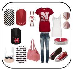 Nebraska Huskers Gameday Outfit - Jamberry Nail Wraps  http://vandeloonails.jamberrynails.net/