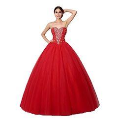 Dqfs 2015 Elegant Sweetheart Neck Beaded Crystals Prom Dresses Tulle Satin Quinceanera Dresses Red US8 DQFS http://www.amazon.com/dp/B0114ZT8UM/ref=cm_sw_r_pi_dp_FM9Nvb08PSNDM