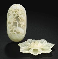 THREE PALE CELADON JADE CARVINGS<br>QING DYNASTY, 19TH CENTURY | lot | Sotheby's