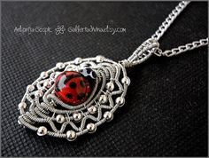 Wire wrapped Ladybug pendant  30 OFF by AntonijaGospic on Etsy, $25.00