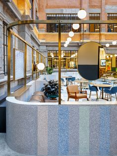 A former opium factory and artist residence in the heart of Shanghai has been transformed by Linehouse into a colorful coworking space, WeWork Weihai Lu. Cafe Interior, Interior And Exterior, Interior Design, Hotel Restaurant, Restaurant Design, Restaurant Interiors, Coworking Space, Terrazo, Restaurants