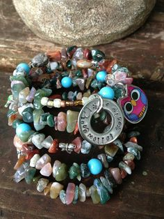 Be Wise Follow Your Heart: five wrap beaded memory wire bracelet with metal stamped charm