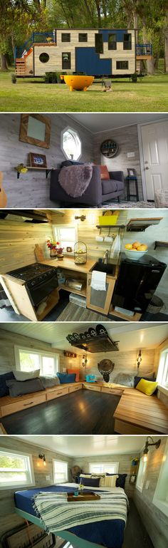 The 30' tiny house comes complete with a rooftop deck accessed by an exterior staircase, a partial floating staircase, and a back deck with a chair lift.