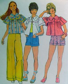 70s Smock Top Pants and Shorts Vintage Sewing by stumbleupon, $6.95