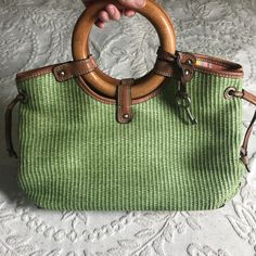 a892a84d3aaa Fossil Woven Purse with Wooden Handles, Vintage Fossil Purse, Vintage Green  Purse, Vintage Green Bag, Bag with Wooden Handles, Fossil Purse