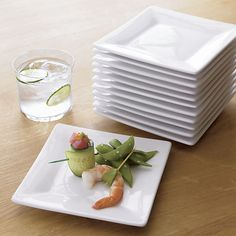 Set of 12 Boxed 6  Appetizer Plates & Square Plates for portion control - Crate Barrel | #WorkingOut ...