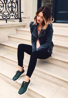 Amazing @Caroline Receveur wearing grey studded shoulder denim blazer. Get her look here. | Lookbook Store OOTD #LBSDaily