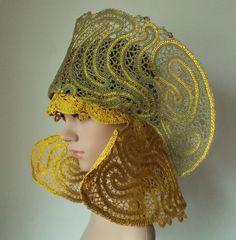 "L.N.Ten. Hats ""Atlanta"" (gold + khaki). 2014. Tashkent. Weave coupling. Cotton, gold thread, metallic thread."