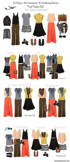 22 Days, 8 Countries, 8 Clothing Items, 22 Travel Outfits via http://TravelFashionGirl.com #travel #outfits