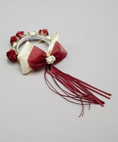 Take a look at this Burgundy Flower Bow Halo by Kid's Dream on #zulily today!