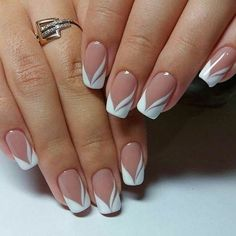 french nails nude-quadratisch-spitze-weiß-dreieckig-lang-elegant-brautnägel-ri… french nails nude-square-lace-white-triangular-long-elegant-bridal-nails-ring Nude nails always look COFFIN NAIL ART Nude nail ideas that a Elegant Nail Designs, French Nail Designs, Nail Art Designs, French Manicure With Design, French Tip Design, Elegant Bridal Nails, Elegant Nails, Sophisticated Nails, French Manicure Nails