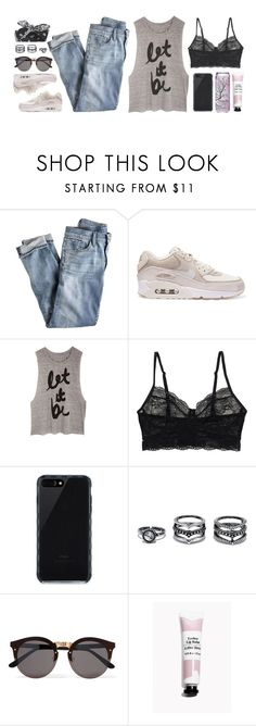 """""""I see fire"""" by iarsotelo ❤ liked on Polyvore featuring J.Crew, NIKE, Monki, Belkin, LULUS and Illesteva"""