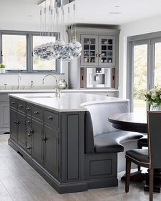 Home Interior Cocina Gray and white-top curved kitchen island.Home Interior Cocina Gray and white-top curved kitchen island Home Decor Kitchen, Kitchen Living, Interior Design Kitchen, Home Design, New Kitchen, Kitchen Ideas, Kitchen Designs, Eclectic Kitchen, Kitchen Inspiration