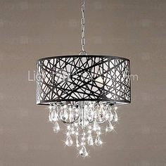 [USD $ 264.99] 60W Modern Pendant Light with 4 Lights and Black Metal Drum Shade