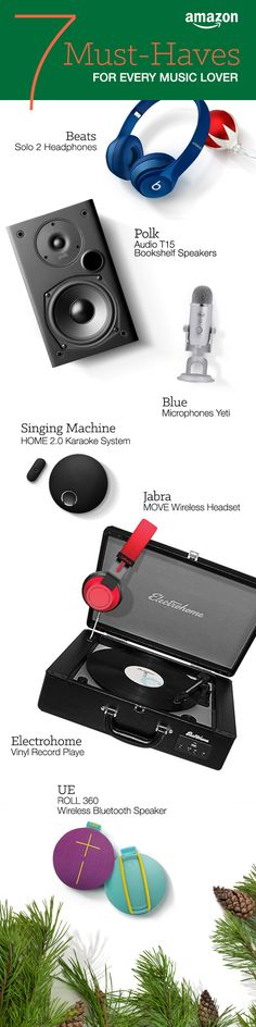 Create the perfect soundtrack to your life with these holiday finds. Bluetooth headphones are great Christmas gifts for commuters, and the karaoke system is perfect for the person that sings out loud. http://www.amazon.com/b/?_encoding=UTF8&node=7258703011&tag=tsa030-20&ascsubtag=ptw-PIN-1-9-1447387643747wM&ref_=ptw_PIN_1_9_1447387643747wM