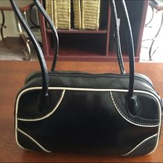 Old Navy Leather Purse Black leather purse with white trim from old navy Old Navy Bags Satchels