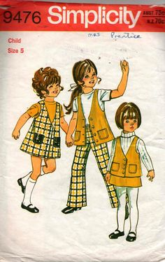 Simplicity 9476 Girls Jumper Vest and Skirt Vintage Sewing Pattern Size 5 PANTS NOT INCLUDED