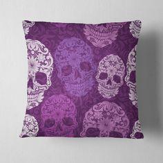 Purple Scroll Sugar Skull Decorative Throw Pillow