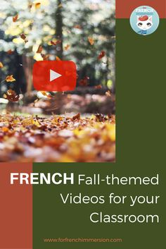 Selection of fall-themed classroom videos: get your French students singing and talking about the season French Teaching Resources, Teaching French, Teaching Spanish, Teaching Ideas, Autumn Activities, Literacy Activities, Listening Activities, French Lessons, Spanish Lessons