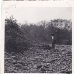 my mom standing where our home was,after hurricane Hazel