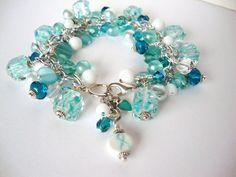 Ovarian Cancer Awareness Bracelet #teal #handmade #ovarian #cancer #9108designs