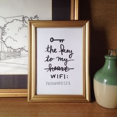Display your home's wifi password with this cheeky, hand lettered print! Perfect for a guest room, home office or anywhere you need to remember that tricky little code. This listing is for a printable PDF file that you will have instant access to download after purchase.