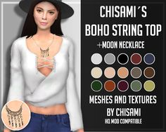 Chisami's Boho String and Moon Necklace All Meshes and textures credits to @chisimi​, Thank you! Requested by @jellyfishandpancakes​ and Anonymous.TOU/DONATIONS DOWNLOAD: NECKLACE(SFS)/ TOP(SFS) CC...