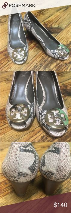 AUTHENTIC~ TORY BURCH SNAKESKIN WEDGE SANDALS SIZE: 9~ EUC~ AUTHENTIC~ TORY BURCH SANDALS Tory Burch Shoes Sandals