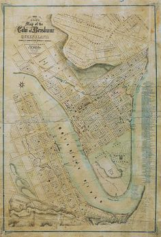 This beautifully drawn historical map of Brisbane in 1863 covers the areas of Spring Hill, West End, Kangaroo Point, and the Central Business District. Aussie Australia, Perth Australia, Brisbane Cbd, Brisbane Queensland, Historical Concepts, Historical Maps, Vintage Maps, Vintage Prints, I Think Map