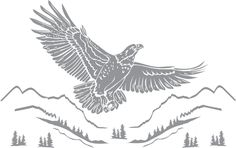 Glass etching stencil of Eagle Flying Over Mountains. In category: Birds of Prey, Trees Eagle Silhouette, Silhouette Clip Art, Animal Silhouette, Silhouette America, Silhouette Files, Tattoo Stencils, Stencil Painting, Stenciling, Glass Etching Stencils