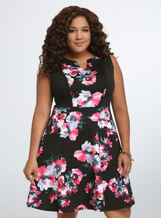 d8b10587304 Floral Scuba Skater Dress