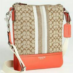 Coach 'Legacy- Signature Stripe' Crossbody Bag Perfectly cleaned used twice and adjustable straps to what length you want Coach Bags Crossbody Bags