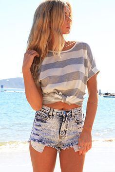 Fashion Womens Short Sleeve Striped Tops O Neck Summer Casual Shirt Tops Blouse on Luulla