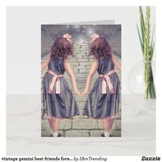 vintage gemini best friends forever Twin girls Card Birthday Gift Cards, Romantic Birthday, Twin Girls, Best Friends Forever, Custom Greeting Cards, Princess Party, Party Hats, Funny Cute, Cute Hairstyles