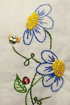 Embroidery Flower fun embroidered flowers, beads, and insect buttons Hand Embroidery Stitches, Silk Ribbon Embroidery, Hand Embroidery Designs, Embroidery Applique, Cross Stitch Embroidery, Machine Embroidery, Embroidery Ideas, Embroidery With Beads, Embroidery Techniques