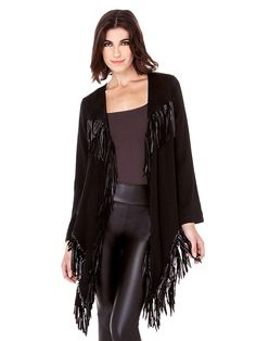 43a08f41ac6 Stitching Solid Color Tassel Irregular Hem Women Leather Jacket is hot sale  on Newchic