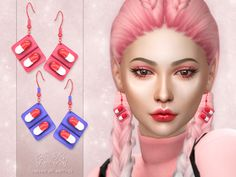 The Sims 4 - Capsule Pill Earrings Sims 4 Body Mods, Sims 4 Game Mods, Sims Four, Sims 4 Mm Cc, Sims 4 Mods Clothes, Sims 4 Clothing, Star Citizen, Sims 4 Piercings, Sims 4 Anime