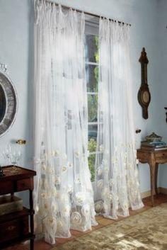 Annalisa Sheer Panel - Sheer Rose Curtains, Drapes With Chiffon And Organza Roses.
