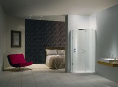 The Illusion Curved Offset Shower Enclosure From Matki - UK Home Ideas Bathroom Showrooms, Bathroom Renos, Bathroom Showers, Bathrooms, Uk Homes, South London, Shower Enclosure, Shower Doors, Modern Bathroom