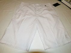 Men's Hurley walk casual shorts stripe 30 surf skate Rivingston white MWS606RIVS #Hurley #shorts