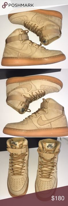 cheap for discount c5dbd 3343a Nike Air Force 1 Wheat Left nike swoosh is slightly darkened   Straps are  in great condition   Slight creasing on toebox   Comes with og box Nike  Shoes ...