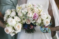 Pink rose, peony wedding bouquets