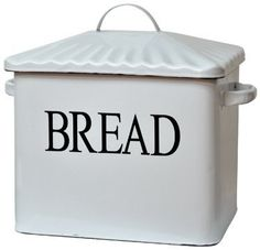 """Enamelware Decorative Bread Box Country Rustic Primitive Distressed Finish by CW. $69.99. Vintage Look Bread Box bin with white enamel finish and black distressed edges.. Measures 9"""" tall (12"""" including lid), 10-1/2"""" wide and 7"""" deep.. Heavy enamelware.. Lovely vintage-look bin with white enamel finish and black distressed edges. 9"""" tall (12"""" including lid), 10-1/2"""" wide and 7"""" deep."""