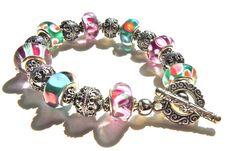 Bursting With Color Pandora Style Bracelet by JuJuBeader on Etsy, $95.00
